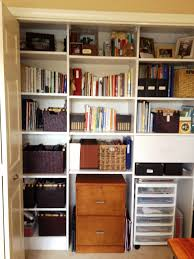 in closet storage organized office closet home office space love this organized