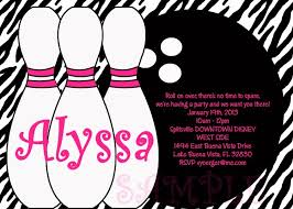 template lovely bowling pin birthday party invitations with