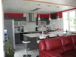 Cuisine Gris Blanc cuisine moderne grise et collection avec deco cuisine rouge et