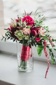 wedding flowers greenery bouquet of wedding flowers and beige peonies