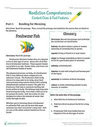 nonfiction comprehension main idea u0026 context clues worksheet