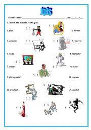 esl worksheets for beginners jobs matching