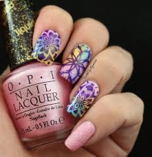 watercolor kaleidoscope stamped nail art design for naillinkup