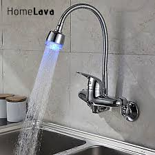 kitchen faucet cool chrome faucet kitchen faucets wall flexible chrome finish single handle color changing led wall mount