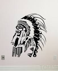 online get cheap native decoration aliexpress com alibaba group native american wall decal feather indian chief vinyl sticker home interior living room decor retro art