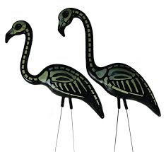 halloween decorations skeleton amazon com skeleton flamingo pink flamingos painted with black