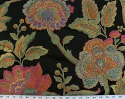 Tapestry Fabrics Upholstery Birds Fabric Coral Orange Blue Green Red Florals