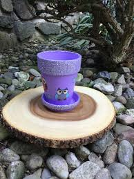 purple owl glitter embellished indoor planter clay pot painted