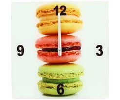 Pendules Murales Cuisine by Horloge Pendule Murale En Verre Design Gourmand Plat Macaron 3794