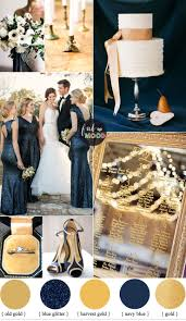 blue wedding gold and navy blue wedding color palette for classic winter wedding