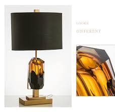 Sculpture Table Lamps Luxury Creative Irregular Black Glass Table Lamp Luxury Bedroom