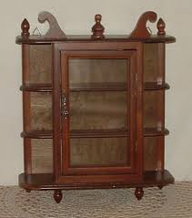 small curio cabinet with glass doors small wall mount curio cabinet w glass door u0026 5 shelves shabby
