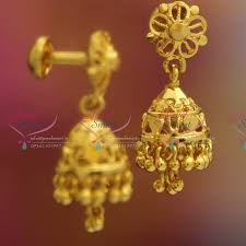 fancy jhumka earrings j2595 kids jewellery lock gold design plated fancy jhumka