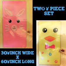 wall murals door covers easter bunny decorations two