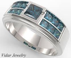 mens princess cut diamonds wedding ring vidar jewelry unique s white gold blue diamonds wedding band vidar jewelry