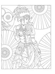 coloring page from creative haven steampunk fashions