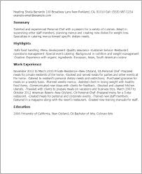 Resume Sample For Cook by Professional Personal Chef Templates To Showcase Your Talent