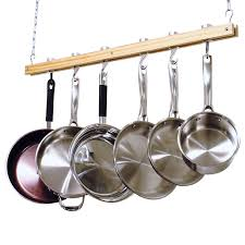 decor kitchen storage ideas with hanging pots and pans rack for