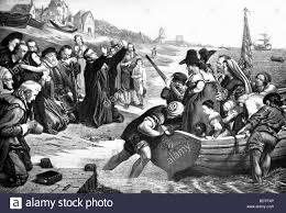this 1901 illustration shows pilgrims praying before setting sail