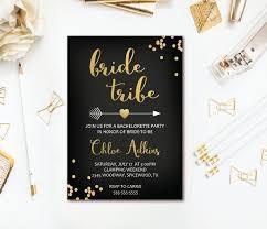 bride tribe bachelorette invitation black u0026 gold confetti