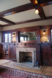 Craftsman Sconces Fireplace Keystone Living Room Craftsman With Stained Oak Built