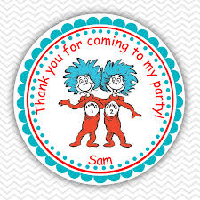 dr seuss thing 1 and thing 2 personalized stickers party