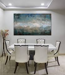 Artwork For Dining Room Large Art Original Abstract Painting Blue Green Neutral Wall