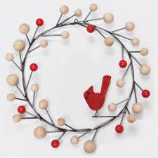 mid century modern cardinal christmas wreath by scott taylor art
