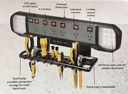 110v led work light winplus power station with led work lights tool organizer bj8