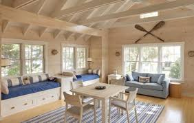 nautical themed family room with daft storage daybeds and