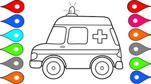 how to draw car ambulance car coloring pages drawing for kids