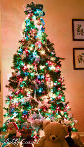 christmas tree with colored lights flocked alaskan 9 white