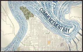 Tacoma Washington Map by The Map Room Typographic Tacoma