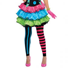ladies halloween tights petite ladies cool neon clown circus fancy dress party halloween