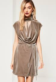 velvet dress brown choker cowl neck bodycon velvet dress missguided