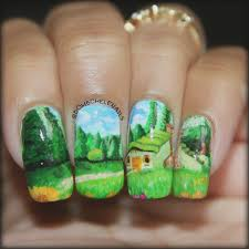 piggieluv little cabin in the clearing freehand nail art