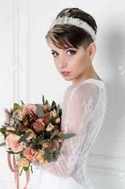 criwn hair cut beautiful tender sexy bride girl with short haircut with crown