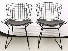 bertoia wire chairs with black leather knoll cushions 1960s usa