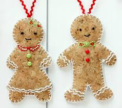 gingerbread ornaments embroidered cork gingerbread ornaments