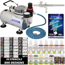 nail art airbrush kit set air compressor paint 20pk stencil design