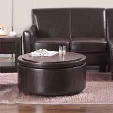Round Coffee Table With Storage Ottomans Dorel Living Threshold Nolan Bonded Leather Round Storage