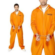 prison jumpsuit costume mens convict fancy dress costume orange prisoner jumpsuit inmate
