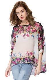 floral chiffon blouse bohemian style oversized dolman sleeve floral chiffon tops