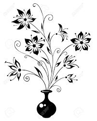 bouquet flowers a vase drawing a vase stock vector illustration