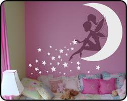 fairy wall decal fairy sitting on moon sticker fairy with pixie
