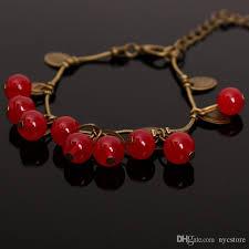 red chain bracelet images Korean retro sweet garnet small cherry beads chain bracelet red jpg