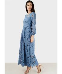 lace maxi dress denim blue sleeve side split lace maxi dress elsie s attic