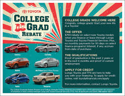 toyota college grad rebate program in el monte ca new toyota
