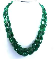 green emerald necklace images Uneven green emerald tumble beads necklace with 925 sterling jpg
