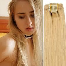 Cheap Human Hair Extensions Clip In Full Head by 18clip In Weft Remy Human Hair Extensions Straight 613 Full